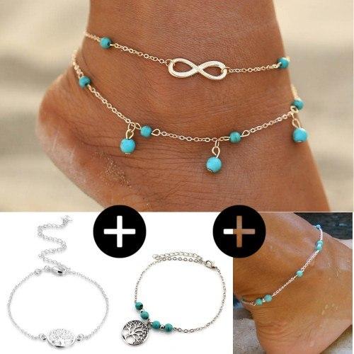 Pack Strings Knöchel Unendlich Perlen Baum Des Lebens Silber Blau Design Bohème