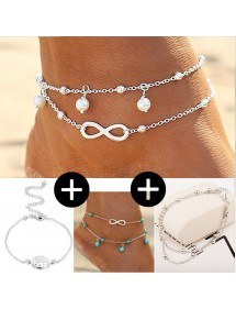 Pack 4 Channels of Ankle Infinity Tree of Life Design Simply Silver