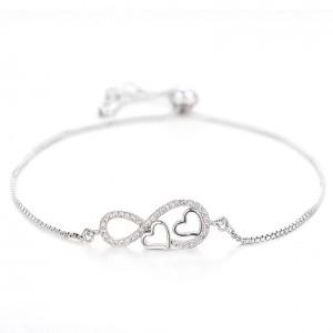 Armband Frau Unendlich und Herz Premium V2 Silber