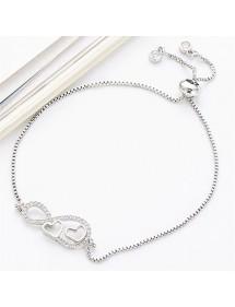 Bracelet Women Infinity and Heart Premium V2 Silver