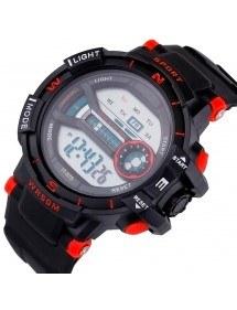 Los hombres del Reloj Digital de los Deportes de la prenda Impermeable Simplemente V2 Negro Y Rojo