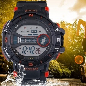 Bărbați Ceas Sport Digital rezistent la apa, pur și Simplu, V2 Negru Și Roșu