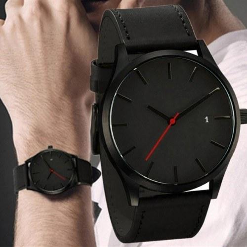 Montre Homme Dark Red V2 Simili Cuir Noir et Aiguille Rouge