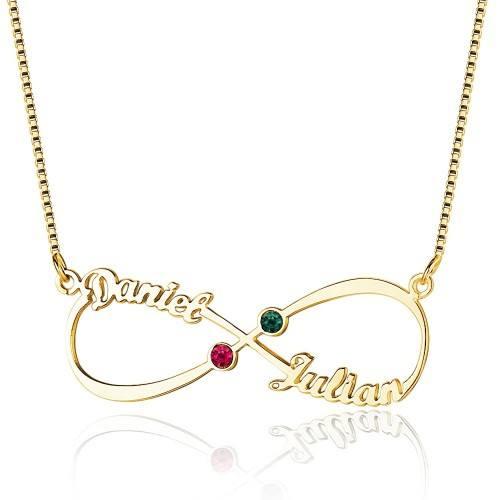 Halskette Benutzerdefinierten Frau Unendlich 2 Vornamen V3 Gold Steine Geburten