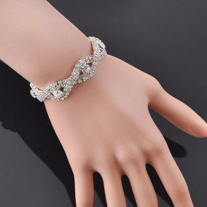 Bracelet Vague De Diamants en Argent