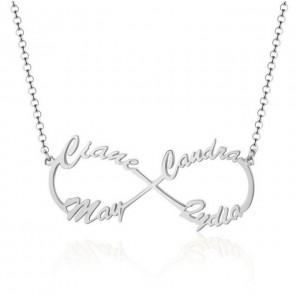 Halskette Frau personalisierte Unendlichkeit Silber 4 Namen