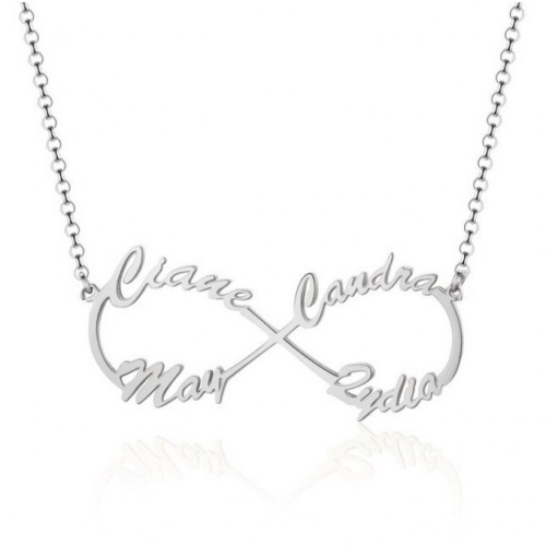 Colar Mulher Personalizada Infinity Silver 4 Nomes