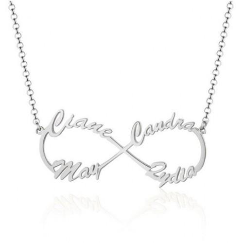 Collar Mujer Personalizado Infinito Plata 4 Nombres