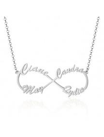 Náhrdelník Žena Personalizované Infinity Stříbrné 4 Jména