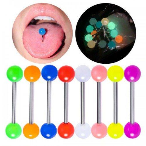 Liežuvio Auskarų Fluorescencinė Šviesa Daug 10 multi-colored Chirurginio Plieno