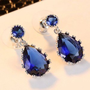 Earrings Drop Of The Heart Of The Ocean Titanic Silver Blue