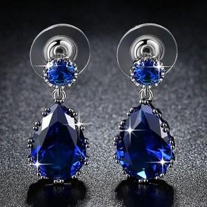 Boucles D'Oreilles Goutte Du Coeur De L'Océan Titanic Argenté Bleu