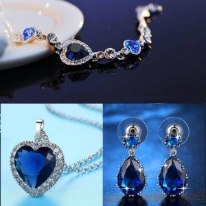 Parure Bijoux Femme Collier Bracelet Boucles d'Oreilles Coeur de L'Océan Titanic Premium Argenté Bleu