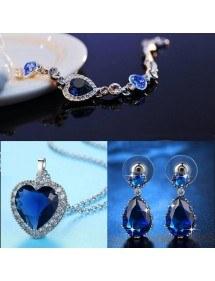 Versiering Sieraden Vrouwen Ketting Armband oorbellen Hart van De Oceaan Titanic Premium Zilver Blauw