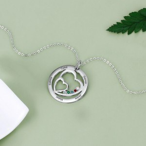 Necklace Woman Personalized Double Heart 5 Names Silver Stone Birth