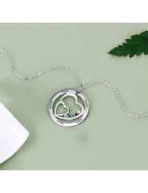 Colar Woman Personalized Double Heart 5 Names Silver Stone Birth