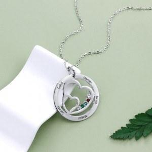 Колие Жена персонализирано двойно сърце 5 имена Сребърен камък раждане