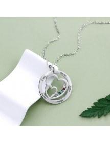Halsband Kvinna Personifierat dubbelt hjärta 5 namn Silverstenfödelse