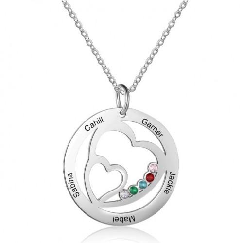 Náhrdelník Žena Personalizované dvojité srdce 5 jmen stříbrný kámen narození