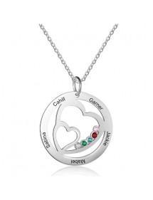 Halskette Frau personalisierte Doppelherz 5 Namen Silber Stein Geburt