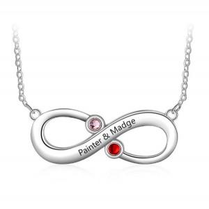 Halsband Kvinna Anpassad Infinity 2 Namn V4 Silver Stenar Födelse