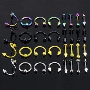 Piercing Mulțime de 32 Arcade Buze Bijuterii Multicolore din Otel Chirurgical