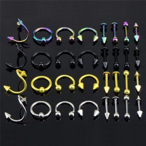 Piercing Sacco di 32 Arcade Labbro Labret Multicolor in Acciaio Chirurgico