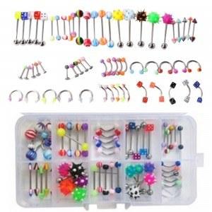 Piercings pack de 60 Arcade Labio Labret Ombligo Lengua Multicolor