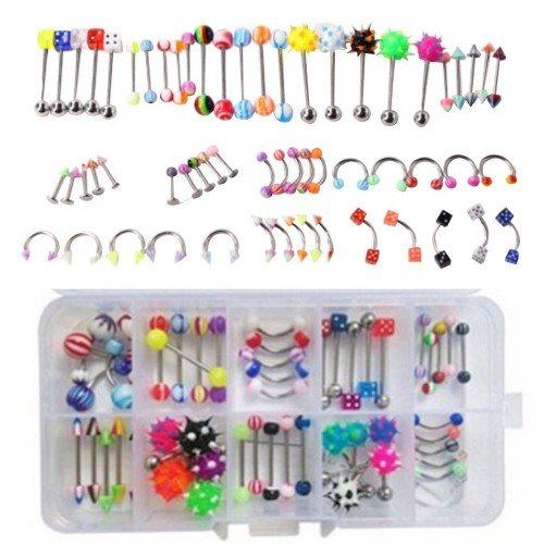 Piercings Lot de 60 Arcade Lèvre Labret Nombril Langue Multicolore