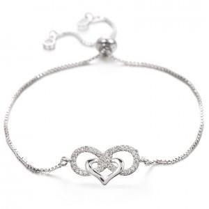 Pulsera de las Mujeres de borde Infinito y el Corazón Premium V3 Silver