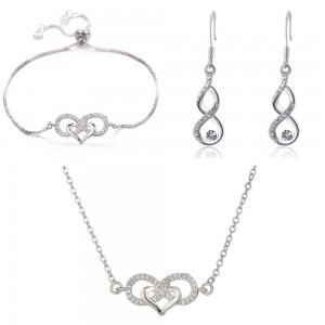 Adornment Jewelry Women Necklace Bracelet Loops Infinity And Heart Premium V3 Silver