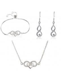 Ornamento Gioielli Donna Collana Bracciale Loop Infinito E Cuore Premium V3 Silver