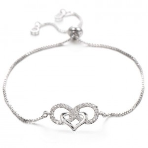 Pynt Smykker Kvinder Halskæde Armbånd Sløjfer Infinity-Og Hjerte Premium-V3 Sølv