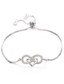 Parure Bijoux Femme Collier Bracelet Boucles Infini Et Coeur Premium V3 Argenté