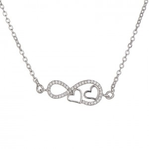 Necklace Woman Infinity And Heart Premium V2 Silver