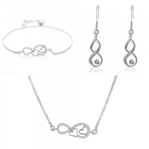 Adornment Jewelry Women Necklace Bracelet Loops Infinity And Heart Premium V2 Silver