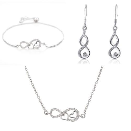 Parure Bijoux Femme Collier Bracelet Boucles Infini Et Coeur Premium V2 Argenté