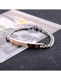 Bracelet Couple Son Roi Sa Reine Her King His Queen Lot de 2