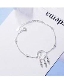 Bracelet Femme Attrape Rêve Premium Design Argenté