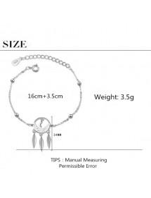 Bracelet Femme Attrape Rêve Premium Design Argenté Dimensions