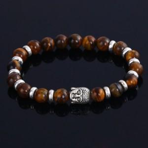 Bracelet Buddha Argent_Marron