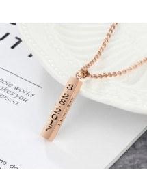 Necklace Custom Bar V2 4 Sides Name Date Text Golden Rose Gold