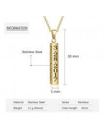 Necklace Custom Bar V2 4 Sides Name Date Text Golden Rose Gold