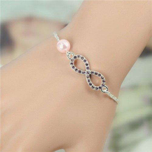 Bracelet Infini Luxe Argent et Perle Rose
