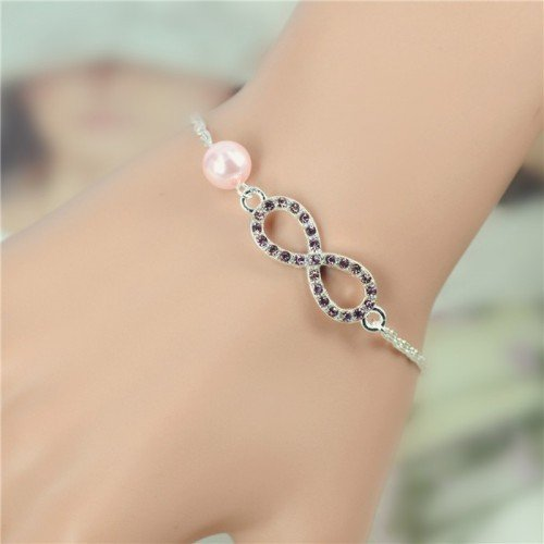 Bracelet Infinity Luxury Silver and Pearl Pink