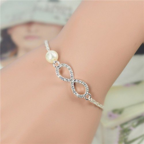 Bracelet Infinity Luxury Silver and Pearl White