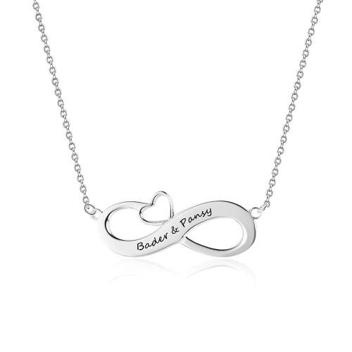 Necklace Woman Custom Infinity 2 Names Small Heart Silver