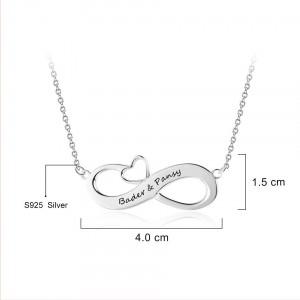 Halskette Frau Benutzerdefinierten Unendlich 2 Vornamen Kleines Herz Silber