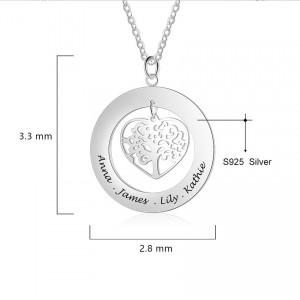 Halsband Kvinna Anpassad Rund Medaljong Hjärta Träd 1 till 4 första Namn Dimensioner