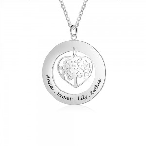 Necklace Woman Custom Round Locket Heart Tree 1 to 4 first Names